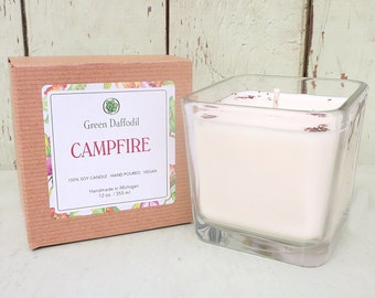 Campfire Soy Candle - 12 oz. Glass Cube - Green Daffodil - Hand poured -CG