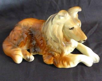 Vintage Ceramic Collie Dog Figurine Lassie
