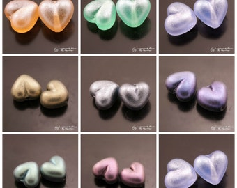 SRA Handmade Lampwork Glass Beads Lampwork Heart Beads Small Heart Spacer Beads Glitter Beads Lampwork Glass Pair by Heather Behrendt MTO