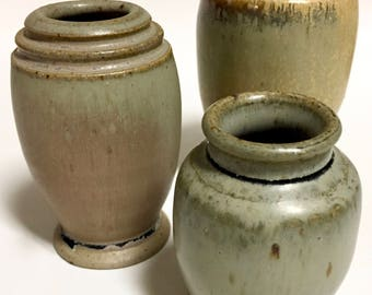 Set of Three Small Pottery Vases Trio of Artist-Made Bud Vases Graduated Sizes Neutral Earth-Tone Glazes Home Decor Display Item