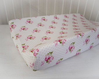 Shabby Chic,  Victorian, Floral  with Pink Roses Designer  Changing Pad Mat Cover