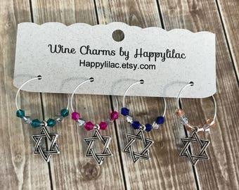Jewish Wine Charms, 4 Wine Charms, Shabbat, Star of David, Judaica, Hanukkah Wine Charms, Chanukah, Hanukkah, Hanukkah Gift, Passover