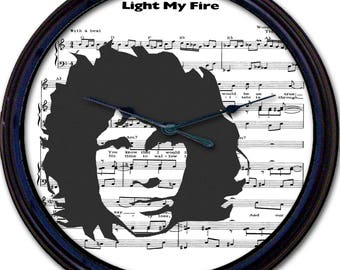 Jim Morrison, The Doors, Light My Fire, 60s, Sixties, Sheet Music, Wall Clock, Rock Singer, Rock Band, Rock Music, Rock and Roll, New 10""