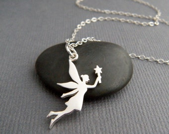 tiny silver fairy necklace. small sterling silver whimsical pendant. fairy princess star wand. small simple jewelry fun girly gift 7/8""