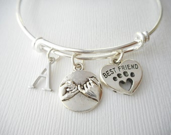 Pinky Promise, Best Friend- Initial Bangle/ Daughter Bracelet, Birthday Gift, Bff bracelet, gift for her, girl bracelet, sister bracelet