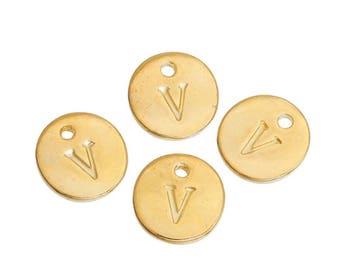 Letter V - 12mm Golden gold pendant