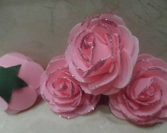 set of 4 appliques rose flowers with glitter 7 cm