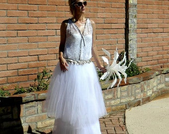 Flapper Wedding Dress-20s Wedding Dress-30s Wedding Dress-Bride Separates-Goldie Tulle Skirt-Flapper Chic-Modern Bride for Many Body Sizes