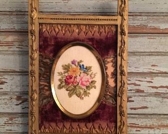 Antique Victorian gesso and velvet frame