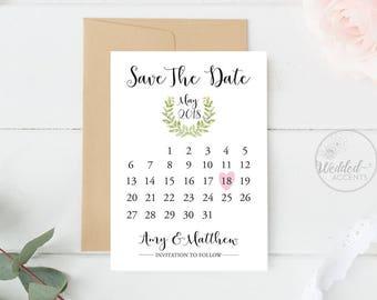 Save the Date Calendar, Invitation Save The Date Calendar, Calendar Save the Date, Save The Date Calendar Printable