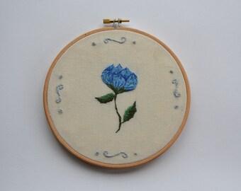 Blue Flower Embroidery Hoop/ Embroidery Hoop Art/ Hand Embroidered Hoop/ Embroidery Hoop Art/ Blue Tulip Art