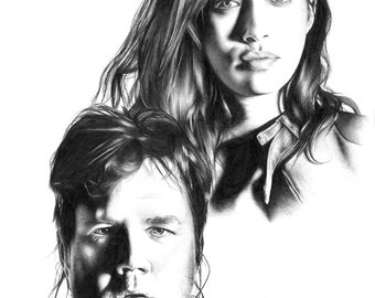 Rosita and Eugene - The Walking Dead Pencil Portrait Drawing Print