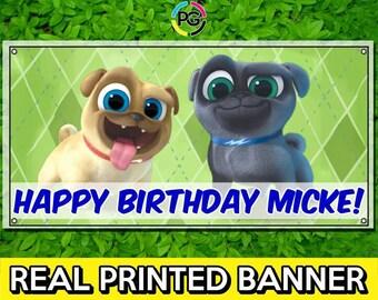 Puppy Dog Pals Printed Happy Birthday Vinyl Banner Personalized Custom Name