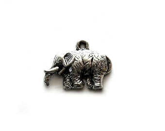 4 Silver Woolly Mammoth Charms