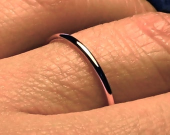 thin rose gold band/ thin rose gold ring/ 14k solid pink gold/ fully round/ full round halo/ 1.3 mm/ dainty wedding ring/ stacking band