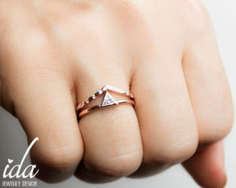 Wedding Ring Set - Trillion Engagement Ring - Unique Engagement Ring - Trillion Cut Ring - Diamond Engagement Ring,Engagement Ring Rose Gold