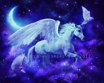 white winged Pegasus horse fantasy art print