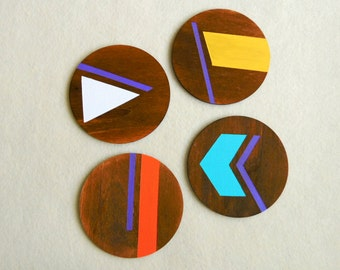 Coasters Set of 4, Neon Geometric Coasters, Handpainted Wooden Coasters