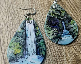 Punchbowl Falls - pdx hand-painted waterfall earrings - Portland, Oregon Nature