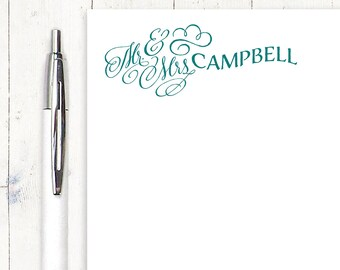 personalized notePAD - MR AND MRS - stationery - stationary - womens stationery - choose color