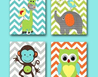 Girl Baby Boy Nursery Art Print Children Wall Art Baby Room Decor Monkey Nursery Owl Nursery Giraffe Nursery Elephant Nursery set of 4 Blue/