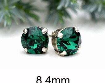 8.4mm, Emerald Studs, Crystal Stud Earrings, Rhodium Plated, Rhinestone Studs, Green Earrings, Handmade Studs
