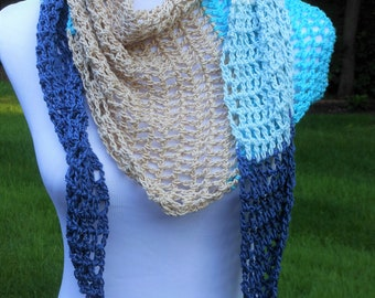 crochet asymmetrical neck wrap, open weave summer lightweight scarf blue beige cream, triangle neckwrap, vacation accessories, gifts for her