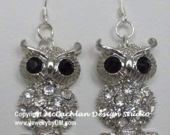 Wise One Silver Owl Earrings with crystal covered body and French hook ear wires