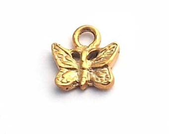 gold on sterling silver baby butterfly charm , mini gold plated silver butterfly charm , tiny gold butterfly