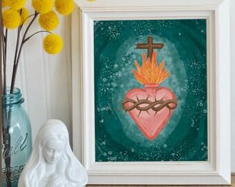 Sacred Heart PRINTABLE art, catholic art, religious art