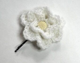 White wool crochet flower Barrette romantic shabby