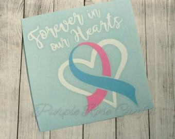 Forever in our Hearts Miscarriage Infant Baby Loss Awareness Ribbon Birds Feather Decal Sticker Cling for Window, Car, Cup, Laptop, Tablet
