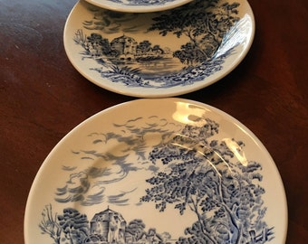 "Enoch Wedgwood ""Countryside"" Set of 4 Bread and Butter Plates - Made in England - English Scene"