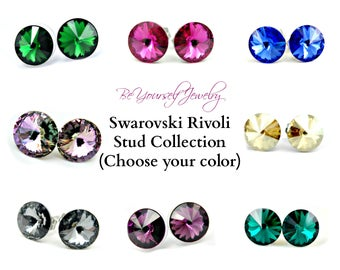 Swarovski Crystal Studs Bridal Earring Bridesmaid Gift Wedding Jewelry Bride Studs Wedding Earring Stainless Steel Jewelry Choose Your Color