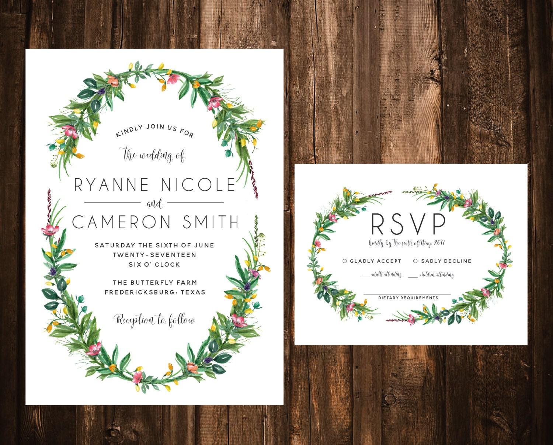 Wildflower Wedding Invitations Floral Wreath Wedding