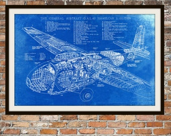 Blueprint Art of the Plane Hamilcar Glider Technical Drawings Engineering Drawings Patent Blue Print Art Item 0046