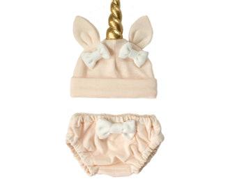 Blush Unicorn Hat and Bloomers Set