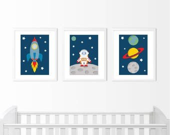 Set of 3 Space, Astronaut and Rocket Prints