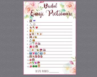 Bridal Shower Emoji Game, Wedding Emoji Pictionary Game, Emoji Pictionary Bridal Games, Bridal Shower Game, Emoji Game, Instant Download