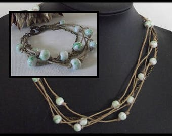 Ornament or necklace or Bracelet lin & bronze ceramic beads white and green necklace mother's day