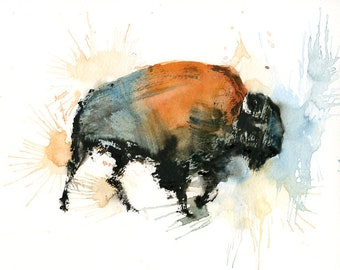 Bison painting, Original watercolor painting 10x8inch
