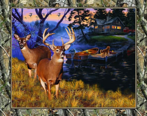 Realtree Deer and Cabin on the Lake with Dog and Canoes Fabric Panel