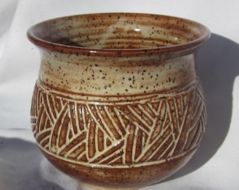 Pot with Carvings - Hand Carved Pottery