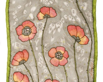 Handpainted silk scaf with poppies.