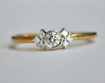 Diamond Engagement Ring. Baby Princess Cluster Ring. Diamond Solitaire Ring. Cluster Engagement Diamond Ring. Promise 3 Stone Ring