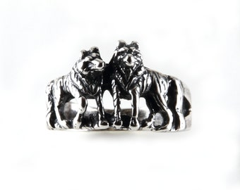 Sterling Silver Double Wilderness Wolfs Ring