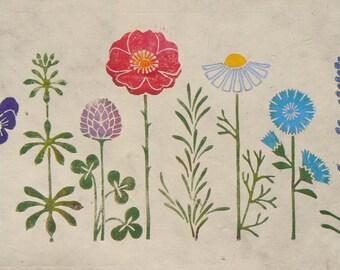Apothecary's Garden linocut print