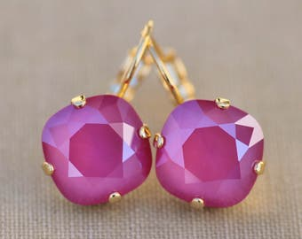 NEW Swarovski Peony Pink Cushion Drop Earring,Cranberry Pink Cushion Stud,Bridal,Weddings,Pink Wedding,Rose Pink,Rounded Square,Gift For Her