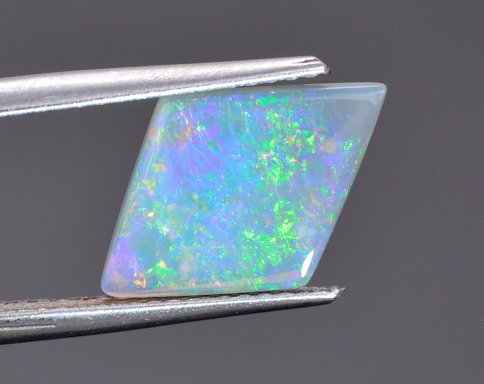 Excellent Solid Semi Black Opal Gem from Mintabie, Australia, 1.53 cts., 14.6 x 9.9 mm., Diamond Shape Cabochon