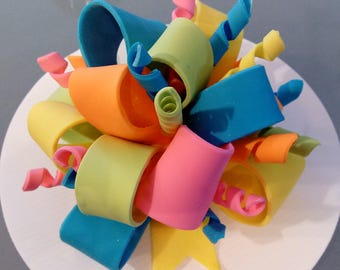 1 Edible BOW with twirls / gum paste / fondant / sugar /  birthday / cake decoration or topper